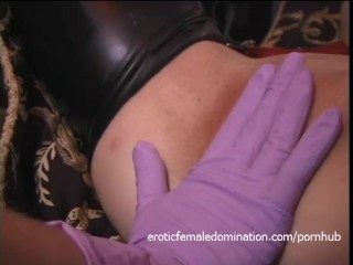 Two latex-clad harlots spank a ginger bitch before having some fun themselv