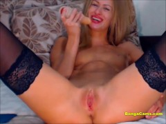 Hot Blonde Fingers Her Pussy While Wearing Black Stockings