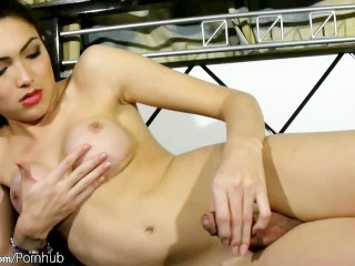 Black hair femboy exposes her new round boobs and jacks off