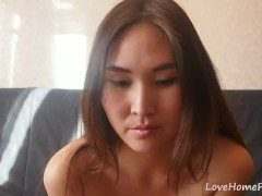 Chinese girl in red clothes acting very naughty