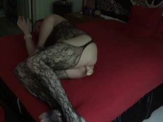 Fucking My Ass With Dildo In Bodystocking
