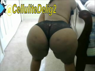 Cellulite Delight Ass Shaking Ebony Black Lace Panties Webcam Bend Over