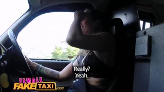 Preview 3 of FemaleFakeTaxi Big tits babe licks hot shaven pussy on bonnet in forest
