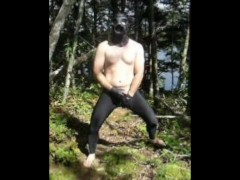 outdoors in black under amour tights jerking off