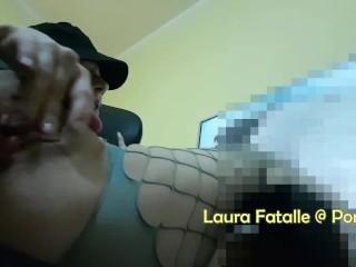 Step sister masturbating while watching porn - Laura Fatalle