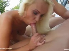 Cumshots from many guys in a group with Mariana on Cum For Cover