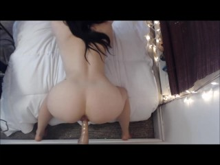 Curvy LittleMissElle sucks & fucks her dildo POV doggystyle