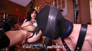 FemDom Goddess Dildo Fucked Then Fucks Slaves Ass  big natural tits ass strapon bdsm boots femdom goddess leather fetish slaves kink mistress anal tattoos hard anal sex clubdom