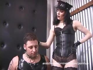 Two ravishing babes enjoy spanking a latex-clad horny stud hard