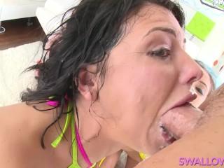 SWALLOWED Adriana, Jynx and Megan in triple sloppy Blowjob