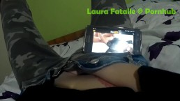 Naughty step sister masturbating while watching porn - Laura Fatalle