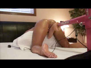 TIGHT TANNED WIFE TAKES ON HUGE 12 INCH DILDO WITH 8.5 INCH GIRTH-ORGASMS