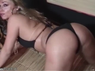 Adorable shemale poses her bubble ass in swimsuit and naked
