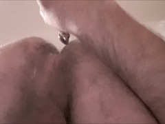 Virgin ass solo str8 guy ass-to-mouth butt plug then pour cum on ass (long)