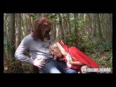 Big bad wolf explodes hot spunk in horny busty blonde sluts face after anal