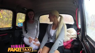 FemaleFakeTaxi Slim minx gets fucked with strap on by busty blonde driver