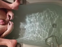 Virgin ass bath anal play - solo str8 guy still learning with butt plug
