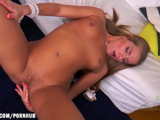 Sofi strokes her young blonde kitty