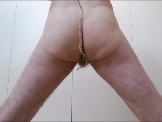 Moaning anal beginner str8 guy solo compilation - butt plug, bath, leash
