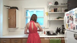Kasey Warner strips and masturbates in kitchen