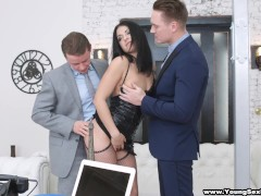 Young Sex Parties – Nubile DPed by two businessmen