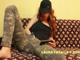 My hot step sister caught masturbating while watching porn - Laura Fatalle