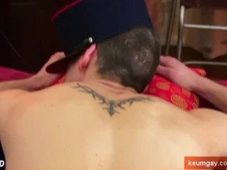 The handsome delivery guy get serviced by a guy!