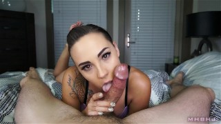 Beautiful cocksucker makes cock cum twice  point-of-view marks-head-bobbers mhb pov mark-rockwell edging brunette stroking the-pose tattoos mhbhj cum-in-mouth oral-creampie ocp