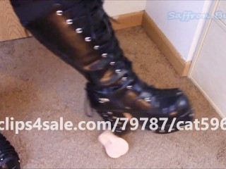 Sexy BBW Saffron Burke Crushes Your Balls in Her Sexy Boots