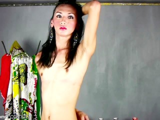 Ultra thin Filipino cock girl inserts sex toy in her asshole