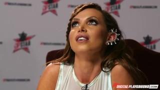 Preview 4 of DP Star 3 - Big Tit Blonde Milf Cherie Deville Deep Throat Blowjob