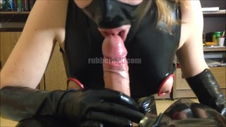 POV blowjob in latex with loads of cum  rubber glove handjob rubber fetish rubber glove sucking dick cumshot kinkyfamily latex kinky family latex catsuit latex blowjob pov blowjob latex fetish latex femdom cum in mouth latex handjob blowjob swallow