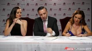 Preview 1 of Nikki Benz & Tori Black judging girls blowjob skills in DPStar Season 3 Ep4