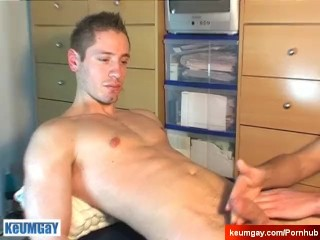 Ange, innocent delivery guy serviced his big cock by a guy!