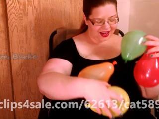 Sexy BBW Redhead Saffron Burke Rubs Tiny Balloons All Over