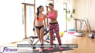 FitnessRooms Personal trainer with huge tits wet for firm young gym girl lesbians babes young exercise blonde teen fitnessrooms lycra big-boobs big-tits workout gym teenager nicole love