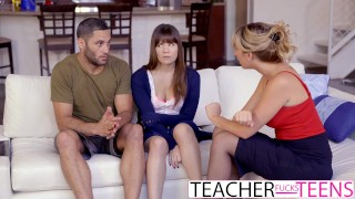 Preview 2 of Hot Teacher Tricks Students Into Threeway Fuck