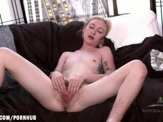 Ivy rubs her furry swollen clit