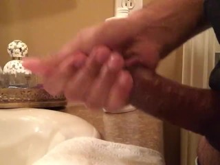 Jerking off My hard dick in the sink