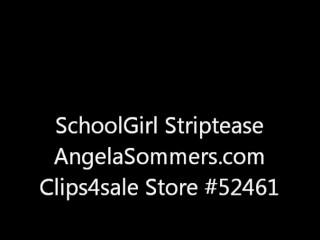 Angela Sommers schoolgirl strip tease at home