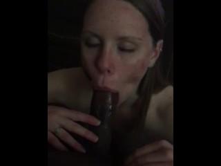 White girl deepthroating