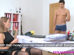 FemaleAgent American stud cums on sexy blonde agents face