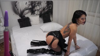 Anisyia Livejasmin Latex Extreme HighHeels Boots -buttpluged and fucked  fitness model anal livejasmin vibratoy extreme high heels buttplug pvc busty kink brunette petite black hair blue eyes huge cock anal orgasm latex suit latex anal