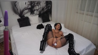 Anisyia Livejasmin Latex Extreme HighHeels Boots -buttpluged and fucked  latex anal livejasmin vibratoy buttplug pvc busty kink brunette petite black hair blue eyes huge cock anal orgasm latex suit fitness model anal extreme high heels