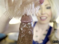 Candy May – Gives handjob to BBC with a latex glove