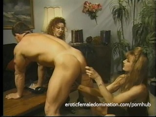 Muscular stallion had his fat rod pleasured with hands, feet and tits