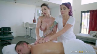 Brazzers - Sexy threesome on the massage table  kissing wife threeway blonde oiled-up big-boobs fake-tits brazzers milf 3some mother threesome doggystyle big-tits ffm mff tattoo massage butt nylons