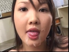 Brunette babe giving a sensual titty fuck till she gets sprayed with spooge