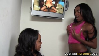 Persia Black and Lola Hart Share Gloryhole Cock  big tits ebony black blowjob gloryhole ffm hardcore kink interracial dogfartnetwork 3some deepthroat threesome big boobs glory hole