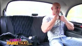 FemaleFakeTaxi Bodybuilder makes busty blonde cum in taxi fuck